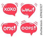 omg  wow  xoxo  oops  set of... | Shutterstock .eps vector #659632327