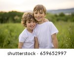 two brother play together in a... | Shutterstock . vector #659652997
