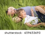 father and son having fun... | Shutterstock . vector #659653693