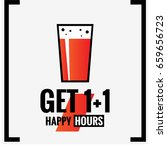 get one plus one happy hours... | Shutterstock .eps vector #659656723