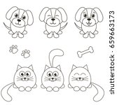 Stock vector cat and dog icons isolated on white 659663173
