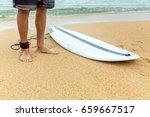 surfer man stands on sand near... | Shutterstock . vector #659667517
