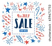 4th of july sale. independence... | Shutterstock .eps vector #659671753