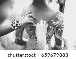 bride wears a wedding dress | Shutterstock . vector #659679883