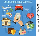 concepts online insurance... | Shutterstock .eps vector #659683477