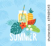 Hand drawn summer greeting card, invitation with lemonade drink in mason jar. Watermelon and pineapple fruit with tropical palm leaves and hibiscus flower. Vector illustration, web banner. | Shutterstock vector #659684143