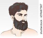 bearded hipster man. vector... | Shutterstock .eps vector #659687587