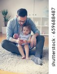 single father wit his daughter... | Shutterstock . vector #659688487