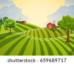 cartoon farm field green... | Shutterstock . vector #659689717