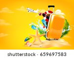 air plane open luggage travel... | Shutterstock .eps vector #659697583