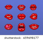 set of different female red... | Shutterstock . vector #659698177