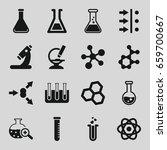 scientific icons set set of 16