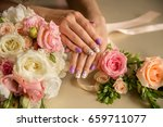 natural nails with beautiful... | Shutterstock . vector #659711077