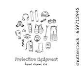 protective equipment set vector ... | Shutterstock .eps vector #659712943