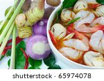 Ingredients for Thai soup, Tom Yum Goong. - stock photo