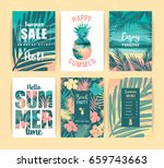 set of summer vacation cards.... | Shutterstock .eps vector #659743663
