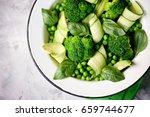 healthy salad of broccoli ... | Shutterstock . vector #659744677