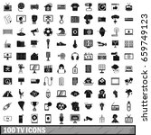 100 tv icons set in simple... | Shutterstock . vector #659749123