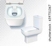 white toilet mockup. realistic...   Shutterstock .eps vector #659751367