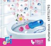 rose fragrance toilet cleaner...   Shutterstock .eps vector #659751793