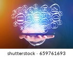 view of a technology hand drawn ... | Shutterstock . vector #659761693