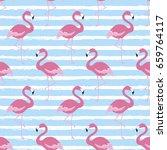 flamingo seamless pattern for... | Shutterstock .eps vector #659764117
