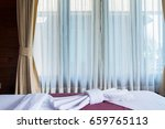 window with curtains or curtain ... | Shutterstock . vector #659765113