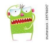 green monster frog showing size ...   Shutterstock .eps vector #659786047