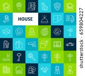 vector line house icons. thin... | Shutterstock .eps vector #659804227
