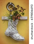 old boot painted white with... | Shutterstock . vector #659806693