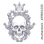 gothic coat of arms with skull. ... | Shutterstock .eps vector #659831233