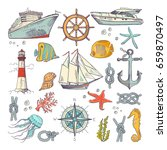 marine coloring doodle set with ... | Shutterstock .eps vector #659870497