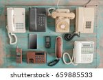 various old telephone on wood... | Shutterstock . vector #659885533