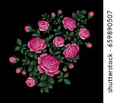 roses embroidery on black... | Shutterstock .eps vector #659890507