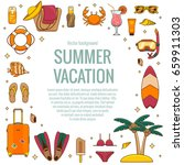 summer vacation beach icon... | Shutterstock .eps vector #659911303