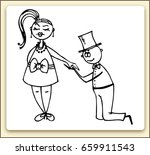 ink story of love. proposal to... | Shutterstock .eps vector #659911543