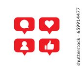 social media notification icons.... | Shutterstock .eps vector #659914477