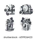 wine bar logo set with glass ... | Shutterstock .eps vector #659926423