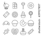 sweets candy cakes icons set.... | Shutterstock .eps vector #659927857