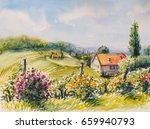 Landscape With Summer Vineyard...