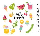 vector set of summer elements.... | Shutterstock .eps vector #659963113