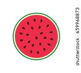 vector half of a watermelon.... | Shutterstock .eps vector #659968873