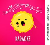 cute sun with microphone sings... | Shutterstock .eps vector #659973343