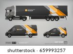 mockup set of truck trailer ...