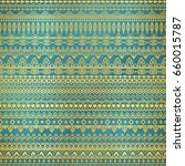 ethnic golden pattern on teal... | Shutterstock .eps vector #660015787