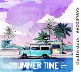 summer beach. vector card.... | Shutterstock .eps vector #660034693