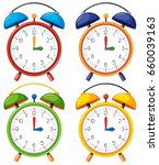 four alarm clocks with... | Shutterstock .eps vector #660039163