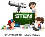 girls and stem education on... | Shutterstock .eps vector #660040627