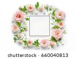 pink roses and blank card on... | Shutterstock . vector #660040813