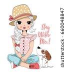 Stock vector cute girl fashion girl romantic girl 660048847